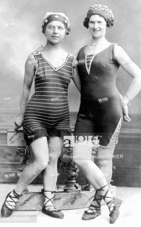 Historic photograph, women wearing bathing suits, around 1900