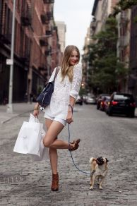 beautiful woman tiny dog