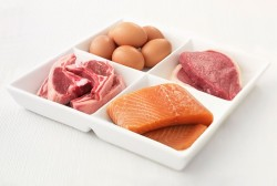 eggs meat and salmon