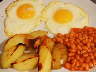 Eggs chips and beans